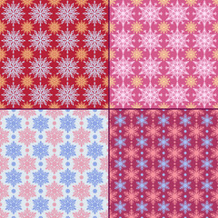 Set of 4 seamless pattern with snowflakes. Winter backgrounds.