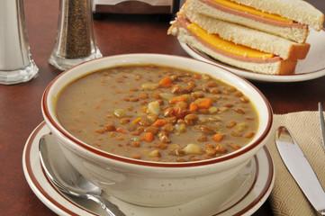 Lentil soup with a sandwich
