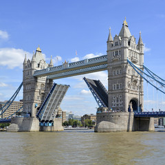 Tower Bridge raised road closed for River Thames boat traffic