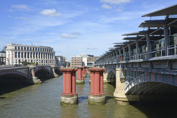Three bridge structures at Blackfriars London