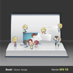 Kids around laptop printed on book.