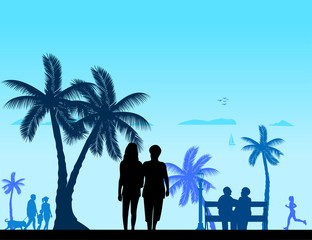 People on the beach and different activities on beach scene