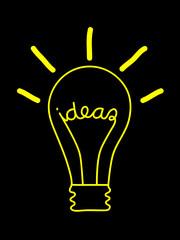 """""""IDEAS"""" Light Bulb (innovation solutions sketch idea brain)"""