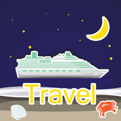 Travel by cruise ship,Illustration eps 10
