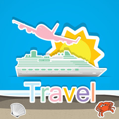 Travel by cruise ship and airship,Illustratio n eps 10