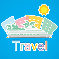 Travel by cruise ship,Illustration eps 10