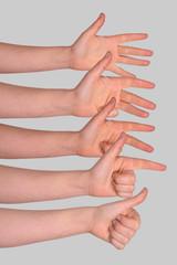 finger zeigen - daumen hoch