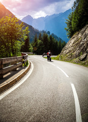 Fototapete - Bikers on mountainous race
