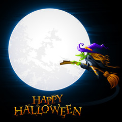 vector illustration of Halloween witch flying near moon