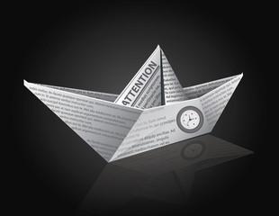 Vector Newspaper Ship