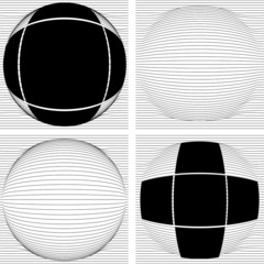 Multiple line convex to sphere with cross frame