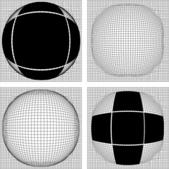 Multiple cross line convex to sphere with cross frame