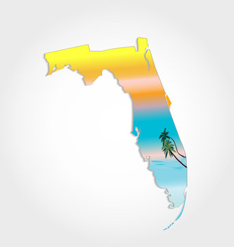 Map of Florida -with sunshine and palms background vector