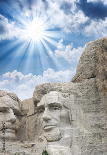 Wall mural Mount Rushmore - Roosevelt and Lincoln sculpture