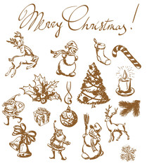 Christmas vintage sketches. vector set.