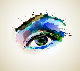 Wall Mural - Beautiful fashion woman eye forming by blots