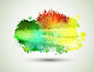 Bright green-yellow watercolor blot