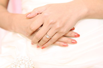 hands of women with wedding ring