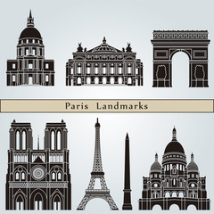 In de dag Doodle Paris landmarks and monuments