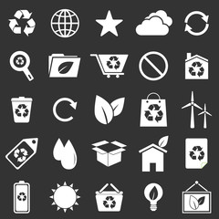 Ecology icons on gray background
