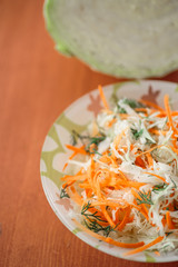 Fresh salad of cabbage and carrots