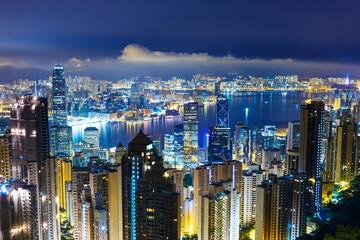 Cityscape in Hong Kong at night