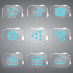 Glass icons vector icon set icons web collection Illustration