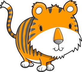 Cute Safari Tiger Cub Vector Illustration Art