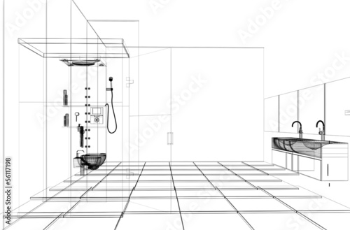 Progetto bagno doccia sanitari cad 3d stockfotos und - Progetto bagno 3d gratis ...