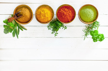 Colourful culinary herbs and spices