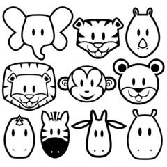 Vector Cute Wild Animals set