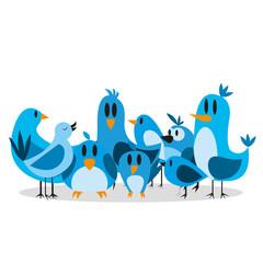 Vector Cute Cartoon Group Of Blue Birds