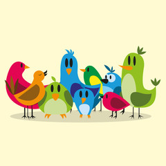Vector Cute Cartoon Group Of Different Birds