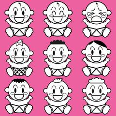 Vector Cartoon Cute different Babies Set