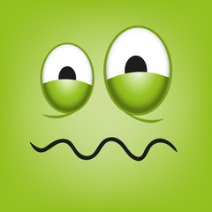 A Vector Cute Cartoon Green Sick Face