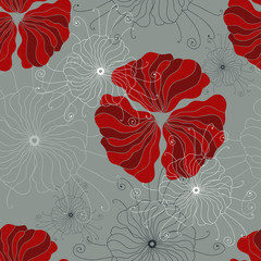Canvas Prints Abstract Floral Seamless pattern with hand-drawn poppy