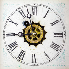 Vintage weathered white clock face