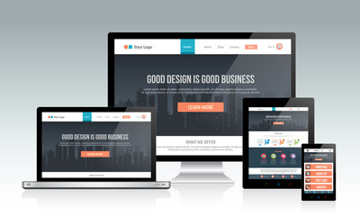 Responsive website template on multiple devices Wall mural