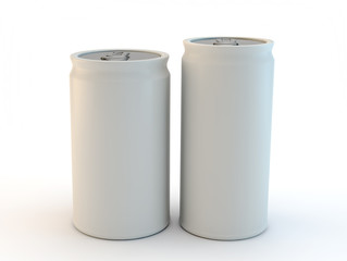 2 blank white cans side view on a white background