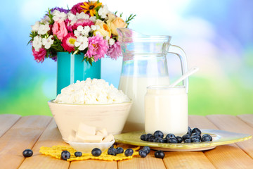 Fresh dairy products with blueberry