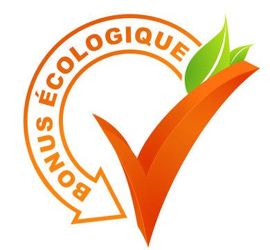 bonus écologique sur symbole validé orange