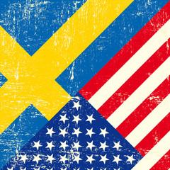 USA and swedish grunge Flag