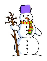 colorful cartoon snowman