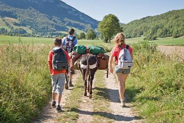 Poster Ane Randonnée en famille avec un âne
