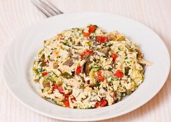 salad with chicken, mushrooms, eggs, cheese, vegetables