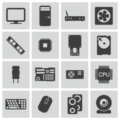 Vector black  PC components  icons set