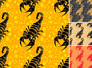 Set ot scorpion seamless pattern