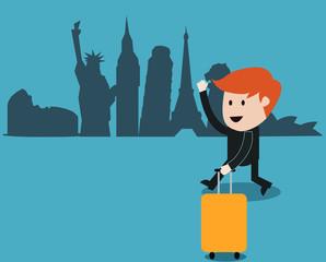 business man travel around the world