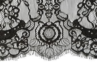 Black lace edge on white background