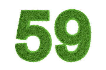 Green eco-friendly symbol of number 59, on white